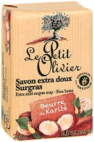 Le Petit Olivier Extra Mild Surgras Soap Shea Butter - Нежен подхранващ сапун с масло от карите -