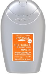 Byphasse Men Funky Savannah 2 in 1 Shower Gel and Shampoo - Мъжки душ гел за коса и тяло -